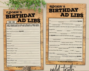 Rustic Wood Mens Birthday Mad Lib Party Game - Printable OR Printed [#103A]