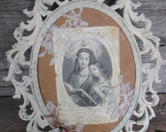 Vintage Metal Frame Distressed White Frame, French Picture, Saint Anne Picture,