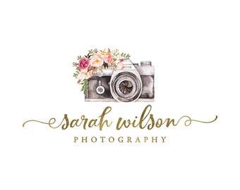 Photography Logo and watermark, Premade Logo Design, Watercolor camera Logo  165