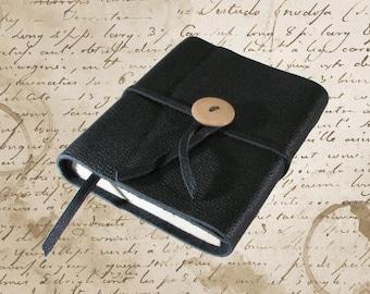 Hand Bound Black Leather Travel Journal or Sketchbook