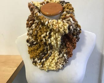 "Chunky knit scarf in ""mustard"", chunky knit cowl, circle scarf, knit eternity scarf, winter accessories."