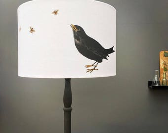Blackbird and bee on white - Kettle of Fish Designs - drum lampshade