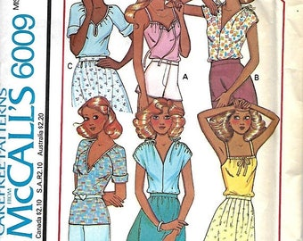ON SALE 1970's McCall's 6009 Misses Set Of Stretch Knit Tops Sewing Pattern, Size Small, UNCUT