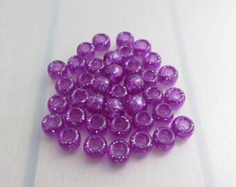 35 Purple Pony Beads, 6mm x 9mm Sparkle Glitter Pony Beads, Purple Acrylic Barrel Beads, Bead Destash