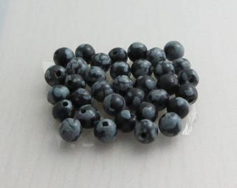 30 Snowflake Obsidian Beads, 4mm Black Round Gemstone Beads, Black Grey Patterned Beads, Bead Destash