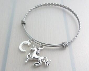 Unicorn Charm Stainless Steel Bangle, Initial Bangle, Personalised Silver Letter Bracelet, Adjustable Bangle, Fantasy Gift, Unicorn Gift
