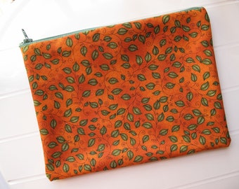 Orange Makeup organizer Cosmetic case with leaves and autumn colors