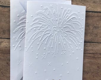 New Year's Card Set, Fireworks Card Set, White Embossed Cards, Stationery Set, Happy New Year Card Set, 2018 Blank Note Card and Envelopes