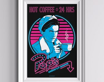 Jughead at Pop's - Riverdale Poster ||| Pop's Chock'lit Shoppe Coffee Cole Sprouse Bughead