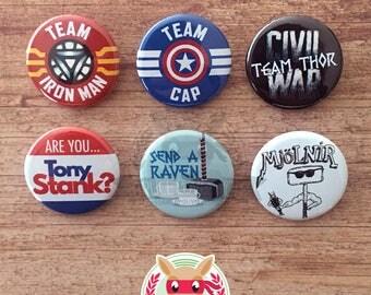 Avengers Civil War inspired buttons - pinback or magnets ||| Iron Man Captain America Thor Tony Stark Mjolnir Hulk Steve Rogers