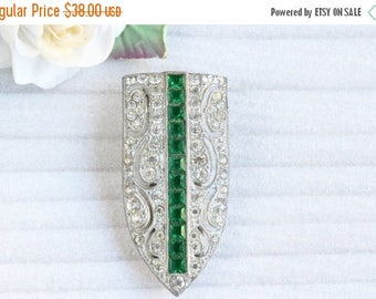 ON SALE Vintage Art Deco White and Emerald Green Rhinestone Dress Clip