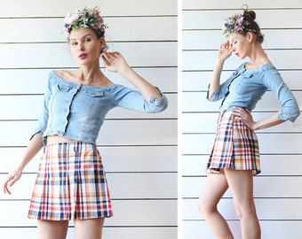 Vintage blue red yellow tartan plaid wool high waist pleated short mini skirt XS S