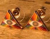 Prism Rainbow Eye Earrings Jewelry - Third Eye Mantra Meditation Meditate Music Festival Concert LGBTQ Queer Pyramid Enlightenment Nirvana