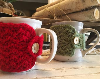 Two Holiday Coffee Cozies- Made to Order