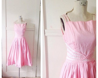 20% OFF / Sock Hop Sweetheart 1950s Pink & White Gingham Dress with Cut Out Style Waist Detail