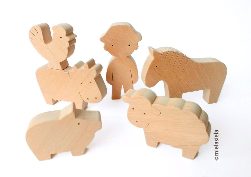 Toys Are Us Wooden Toys : Barnyard farm animals animal set waldorf wooden toys