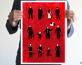 Best Horror Villains,Horror poster,movie poster,Friday the 13th,Halloween,A nightmare on elm street,The shining,man cave,wall art,horror