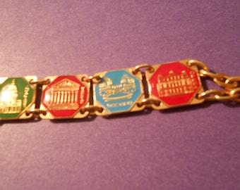 French souvenir bracelet gold tone France
