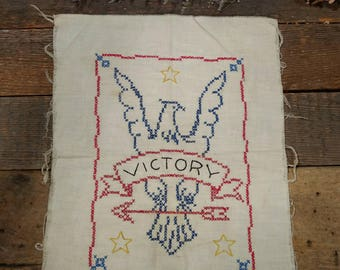 Vintage Unframed Cross Stitch / Needlework / Victory Eagle / Red, Blue, Yellow/ Linen / Patriotic / 40s? / Embroidered