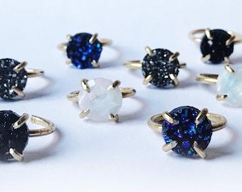Druzy ring / galaxy ring / crystal boho ring / druzy prong ring