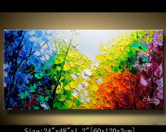 Acrylic Textured Painting ON Canvas,contemporary wall art, Palette Knife Painting,colorful tree painting,wall decor Home Decor by Chen 0621