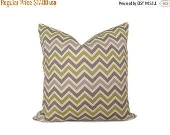 15% Off Sale Pillows Accent pillowThrow Pillow Covers 18x18 ONE Gray Chevron.Gray Green Pillow..Decorative Throw Pillows.Grey. Print Front a