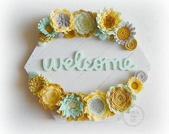 Felt Floral Felt Succulent Flowers Felt Flower Decor Felt Sign Wood Sign Hexagon Sign Welcome Sign Wreath Decor, Home Decor, Felt Flowers