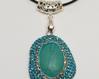 Good Karma gemstone necklace pendant on black string