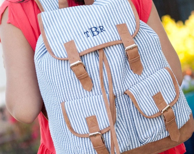 Monogrammed Seersucker Backpack, Bookbag, Personalized Backpack, Monogrammed Gifts, Back to School, Preppy Backpack