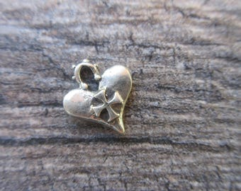 Sterling Silver 925 Artisan style heart charm with cross oxidized finish 13mm x 16mm bracelet charm pendant boho chic gothic cross H114