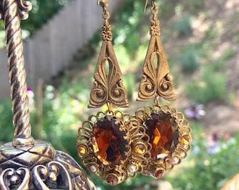 1940 Reign Bridal Amber Topaz Earrings West Germany Jewelry Gold Filigree Dangle