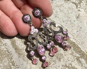 1stDayofSummerSALE Pink Rose Quartz Chandelier Earrings Bohemian Bridal Romantic Renaissance Wedding