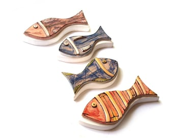 Colorful Ceramic Fish, Set of 4, Pottery Fish, Wall Art ceramic fish, Animal sculpture, Art fish, Fish wall collection, Art fish decor
