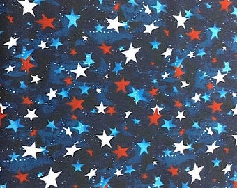 Red White and Blue Stars - Patriotic Prints - Cotton Fabric - Galaxy -  PAT-08