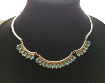 Turquoise Petit Point Taxco Sterling Silver Zuni Style Necklace