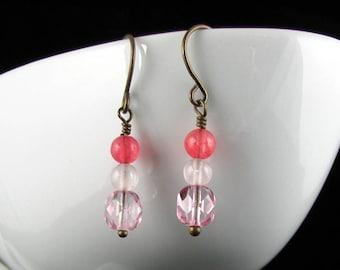 Rose Quartz, New Jade, and Glass Earrings