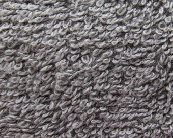 Cotton Terry Cloth Charcoal 58 Inch Fabric by the Yard, 1 yard