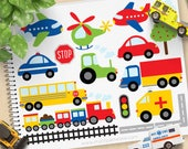 Trains, Planes and Trucks Clipart, Transportation, primary colors, railroad, tractor, cars, Commercial Use, vector clipart, SVG Files