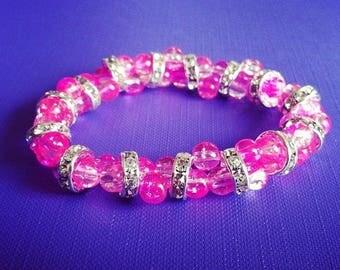 Light pink cracked glass beads bracelet