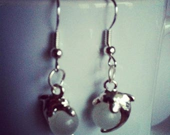 Dolphins Pearl White glass earrings