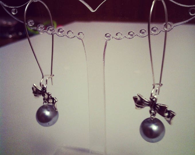 Earrings large bows 2 silver gray ties