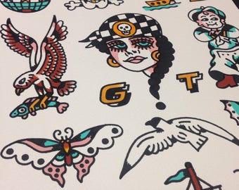 A3 Nautical Tattoo Flash Sheet Print.