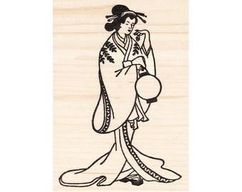 Lantern Geisha 1006I Beeswax Rubber Stamps Unmounted, Cling, Mounted Asian Stamp Collage Stamping