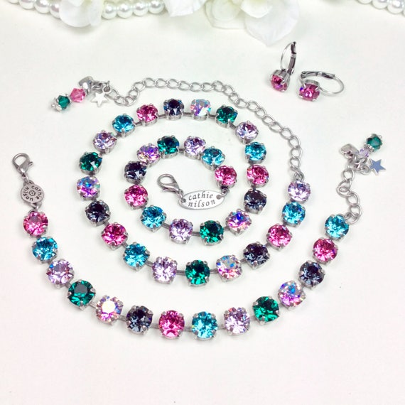 "Swarovski Crystal 8.5mm Necklace ""Camille"" Gorgeous Off- Beat Shades - Emerald, Rose, Violet, Lt. Turqoise, & Violet AB - FREE SHIPPING"