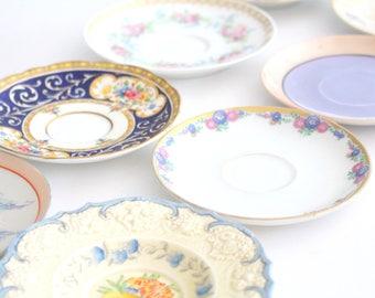 SAUCERS, Vintage Diminutive Saucers, Set of 10, Little Princess Birthday Tea Party, Birthday Favors