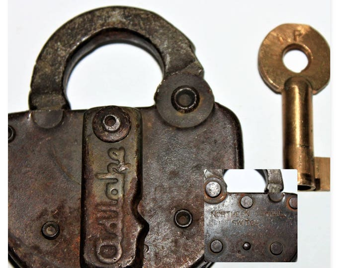 Vintage Adlake 1949 Switch Lock and Brass Hollow Barrel Key for Northern Pacific Railroad, NP RR