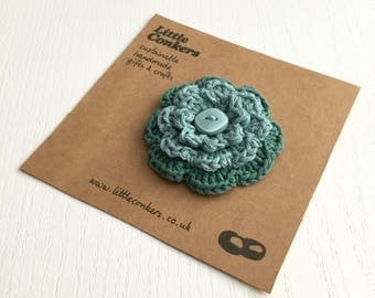 Flower Brooch Teal Aqua Sea Green Pin Handmade Floral Brooch Round Layered Button Brooch / Small Gift for Women