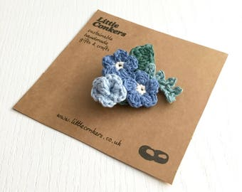 Bouquet Brooch Blue Corsage Buttonhole Floral Wedding Brooch Pin Forget-me-Not / Small Gift for Women
