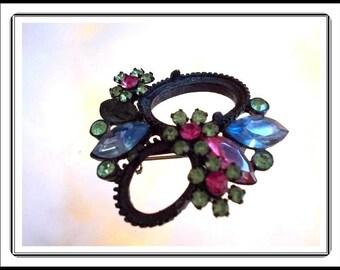 Rhinestone Flower pin - Black Japanned - Vintage 1950's Pink, Blue, Fuchsia, Green Rhinestones -  Flowers Brooch Pin-2433a-090814015