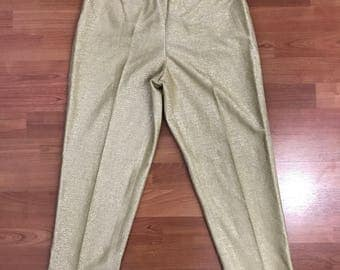 Gold Lurex Cigarette Pants, late 1950s, early 1960s,  Koret of California